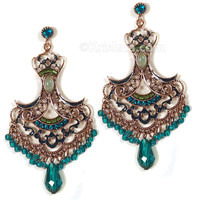 Manipuri Festival Earrings, Copper & Teal