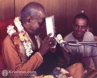 "Srila Prabhupada Photo, With Book, 8""x10"""