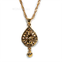 Peacock Heart Necklace, 18k Gold Plate