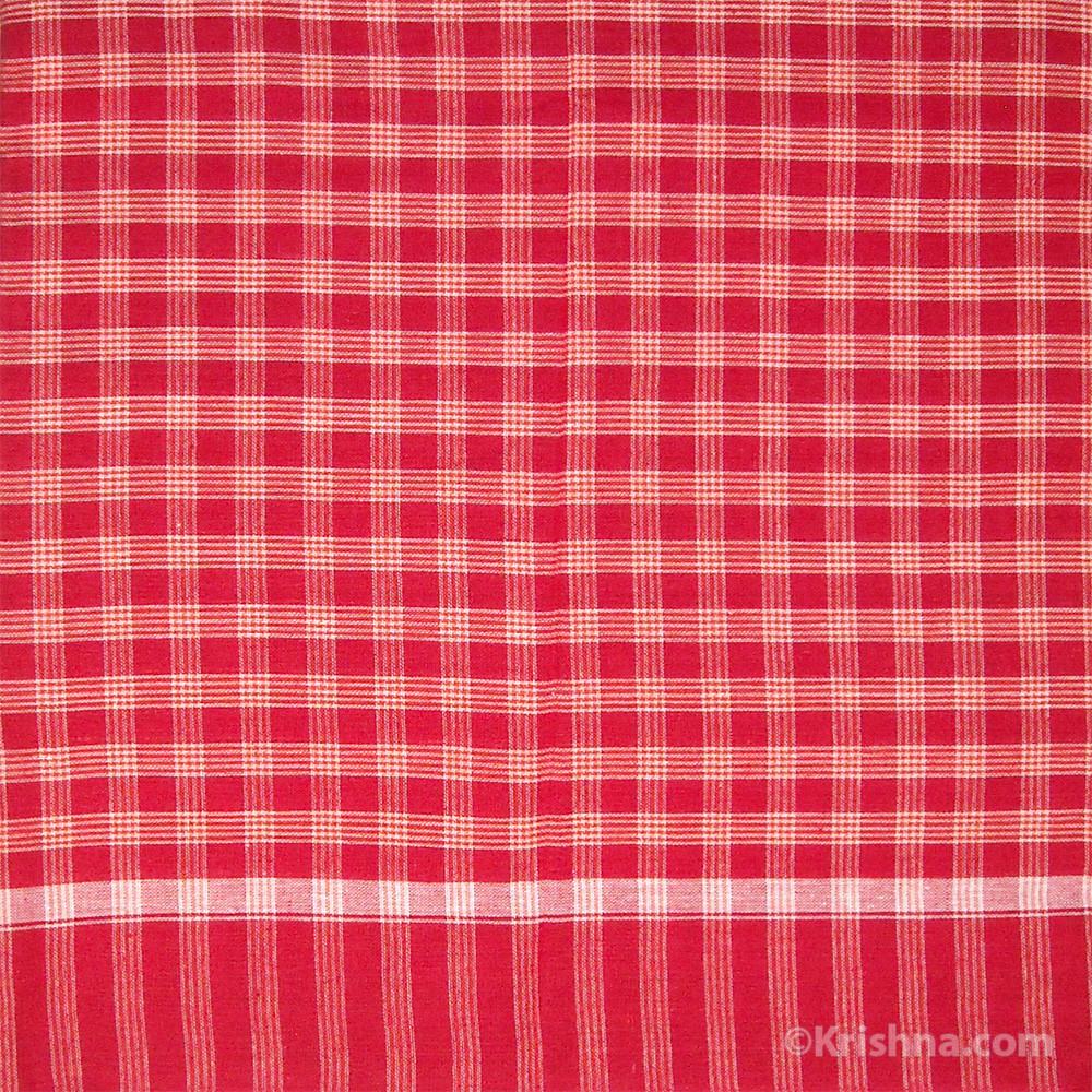 Cotton Bengali Gamcha, Red, White & Orange