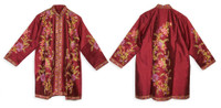 Long Silk Embroidered Sherwani, Magenta