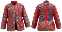 Kashmiri Embroidered Red Silk Jacket, Blueberry Blossoms