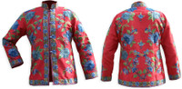 Kashmiri Embroidered Red Silk Jacket, Blue Hibiscus Blossoms