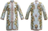 Kashmiri Embroidered Cream Silk Sherwani, Pale-Yellow & Peach, Marked