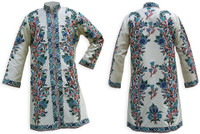 Kashmiri Embroidered Cream Silk Sherwani, Blue Hyacinth, Marked