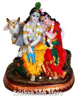"Radha & Krishna, Divine Couple Figurine, 6"""