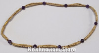 Triple Strand, Extra Thin Natural Tulasi Neck Beads,  Amethyst