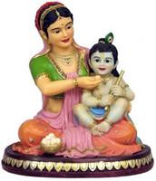 """Yashoda and Krishna Figurine, 6"""""""