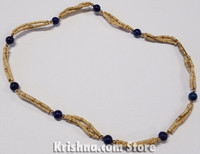 Triple Strand, Extra Thin Natural Tulasi Neck Beads, Lapis Lazuli