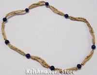Triple Strand, Extra Thin Natural Tulasi Neck Beads, Lapis Lazuli