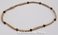 Triple Strand, Extra Thin Natural Tulasi Neck Beads, Tiger Eye