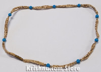 Triple Strand, Extra Thin Natural Tulasi Neck Beads, Turquoise