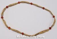 Triple Strand, Extra Thin Natural Tulasi Neck Beads, Orange