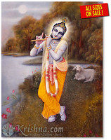 Krishna on Yamuna Bank Photo Print