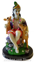 Govinda with Animals Figurine, 7.75""