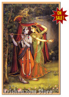 Radha & Krishna Take Shelter Poster, Small