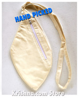 Large Natural Silk Bead Bag, Cream, W/Zipper