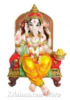 """Ganesh Figurine on a Throne, 10"""""""