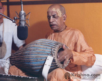 "Srila Prabhupada Photo, Playing Mrdanga at Studio, 8""x10"""