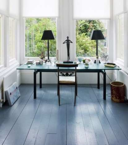 blue painted wooden flooring