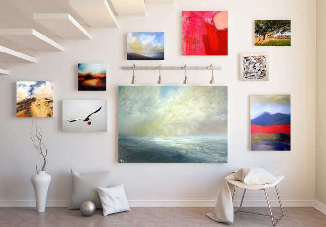 canvas artwork displayed on wall