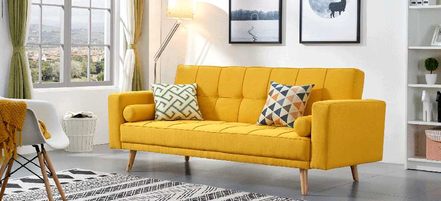 modern golden yellow sofa