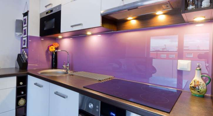 purple glass kitchen backsplash