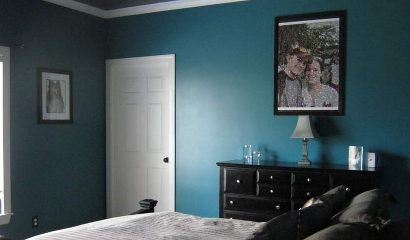 teal room wall decor paint