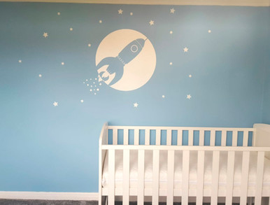 space rocket wall sticker white multiple sizes