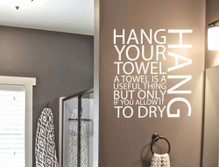 hang your towel word wall sticker multiple sizes