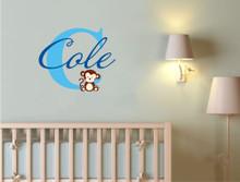 baby name wall sticker with monkey