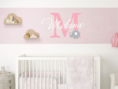childrens name wall sticker with elephant