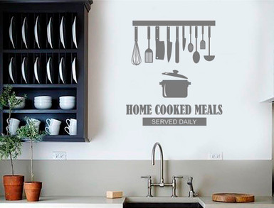 home cooked meals kitchen quote sticker grey