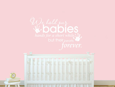 baby wall quote decal with hand prints all white