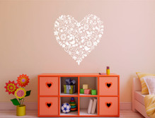 heart wall decal white