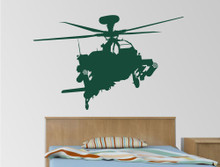 army wall stickers helicopter dark green multiple sizes