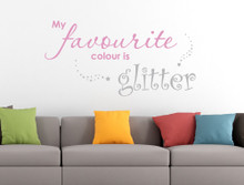 glitter wall sticker wall quote pink and grey