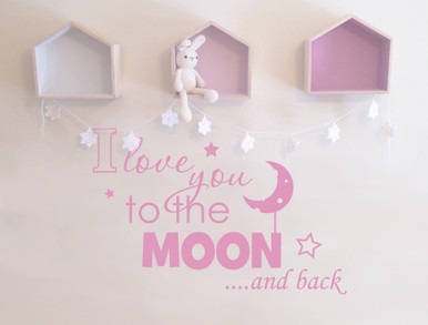 I love you to the moon and back wall sticker pink multiple sizes