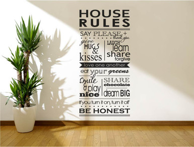 house rules wall sticker black