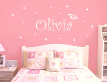 girls name wall sticker white