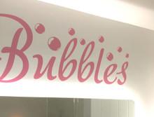 bubbles word wall art sticker pink