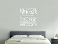 follow your dreams quote wall sticker white