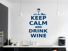 keep calm and drink wine wall art sticker blue multiple sizes