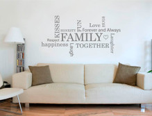 family word art for walls sticker grey