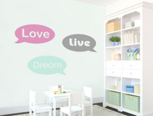 love dream live speech bubble motivational wall stickers