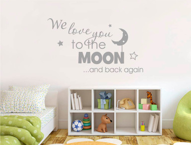 we love you to the moon and back wall sticker grey