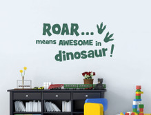 roar means awesome in dinosaur wall decal green multiple sizes