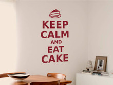keep calm and eat cake wall sticker red multiple sizes