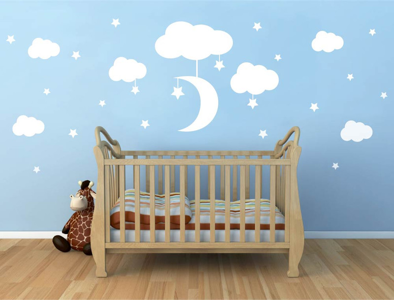 clouds moon and stars wall stickers ( buy 2 get 3rd free )