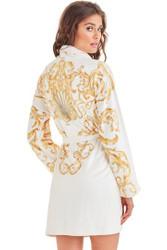 Baroque White Short Robe